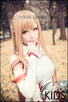 Wholesale Carnival Costumes Online - Sword Art Online SAO ASUNA COSPLAY WIG 100cm long straight braid wig*1 + short ponytail*1