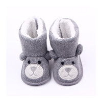 Wholesale Cute Winter Boots For Baby - Wholesale- Cotton Cute Bear Baby Moccasin Booties Winter Warm Baby Boots Shoes Baby Boy Girl Booties For Newborns F3