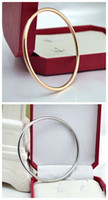 Wholesale Thin Gold Plated Bangles Wholesale - Free shipping simple design bracelet thin shiny polished silver and rose gold plated bangle with satisfied service