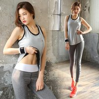 Wholesale Vest Pants Women - Summer fitness yoga vest blouse and bra pants three-piece set of thin quick dry exercise two women