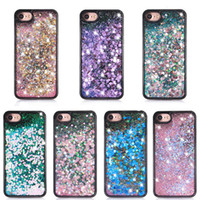 Wholesale Tpu Smart Phone Cases - For Smart phone Quicksand Case For Iphone 7 3D Liquid Case TPU Floating Glitter Star Case For Samsung Galaxy S7 OPP package