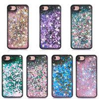 ingrosso cassa di telefono liquido 3d-Per Smart phone Custodia Quicksand per Iphone 7 3D Liquid Case TPU Floating Glitter Star Case per Samsung Galaxy S7 pacchetto OPP