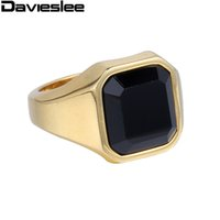 Оптовые- 16mm Smooth Mens Boys Black Gold Silver Tone 316L из нержавеющей стали Signet Ring Black CZ Wholesale Jewelry Размер США 7-12 LHR373