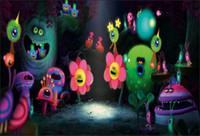 telones de fondo de vinilo de cumpleaños al por mayor-7x5FT Trolls Fiesta de cumpleaños Música Concierto Cueva Custom Photo Studio Fondo Telón de fondo Banner Vinilo 220cm x 150cm