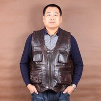 Wholesale Men Brown Leather Jackets - Wholesale- New Arrival Genuine Leather Vest Mens Sleeveless Jackets Pockets Vests Waistcoat Autumn Winter Dark Brown L-6XL
