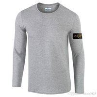Wholesale Men S Shirt Tattoo - European and American style island tattoo long sleeve 2017 Brand t shirt for Men T-Shirts Mens stone Casual Long Sleeves O-neck T-Shirt 7600