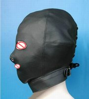 Wholesale adult face mask eyes for sale - Group buy Hot Sex Product Female Soft leather Bondage Mask Hood Open Mouth Eye Headgear Face Mask Adult Bdsm Sex Toy Bed Games Set