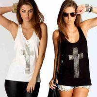 Wholesale Diamonds Shirt Womens - Wholesale-Hot sale New Retri Womens Diamond Cross Vest Tops Hollow Back set Loose Shirt