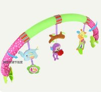 Wholesale Baby Bedding Forest - Wholesale- Seat Arch Along baby bed stroller car clip lathe hanging Rattle Bell forest Animal plush Removable infant toy