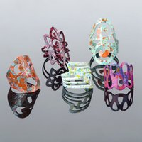 Wholesale 5pcs Multicolor Paint Spraying Hollow Out Rings For Women Punk Alloy Finger Rings Jewelry Adjustable