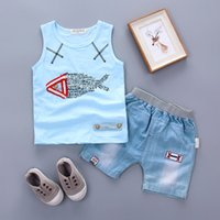 Wholesale Clothes For Fishing - 2017 Summer Korean version of the new children's clothes set letters fish T-shirt denim shorts 2PCS sets free shipping for 1-3Y kids boys