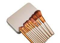 Wholesale Naked Blusher - Original Naked 3 Professional brush 12pcs set brushes makeup golden for powder blusher eyeshadow brush with metal box free shipping