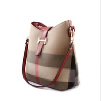 Wholesale Designer Branded Hand Bags - New Brand Hot Sell High Quality Canvas Designer Ladies Bucket Handbag Fashion Women Plaid Ladies Hand Bags