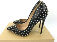 Wholesale High Heeled Black - brand shoes red sloe women pumps high heel shoes rivet pointed toe fine heel lady wedding shoes bottom for the red fashion party +logo+box