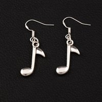 Wholesale christmas party music - Eighth Note Music Note Earrings 925 Silver Fish Ear Hook 30pairs lot Antique Silver Chandelier E238 41.3x14.4mm
