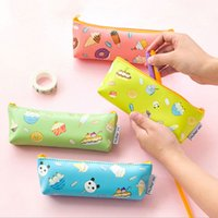 Wholesale ice cream stationery - Wholesale- 1x Creative Fruit ice cream Zipper Pencil Bag PU waterproof Pencil Case Cosmetic Bag children gift stationery Free shipping