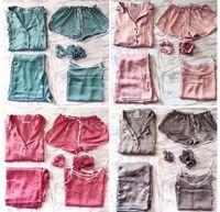 silk pyjama-pyjamas großhandel-Fabrik direkt 2017 Sommer neue Damen Seide Pyjamas 7 Sätze von langärmeligen Hosen Frauen Hause Anzüge
