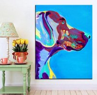 Wholesale large decorative picture - Large size Print Oil Painting weimaraner blue Wall painting Home Decorative Wall Art Picture For Living Room paintng