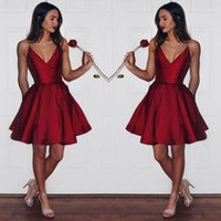 Wholesale ruby brown - Newest Short Ruby Homecoming Dresses 2017 New Arrival Satin A Line Ruffles Prom Cocktail Gowns Cheap Junior Bridesmaid Dresses