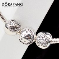 DORAPANG Loose Beads Fits Original Charms Bracelet 925 Sterling Silver clip beads Pave Star Moon Heart Bow Tie DIY encantos atacado 3030