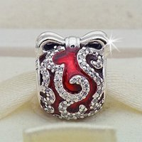 Wholesale Glass Easter Ornament - New 100% S925 Sterling Silver Bright Ornament Charm Bead with Red Enamel Fits European Pandora Jewelry Bracelets and Pendant