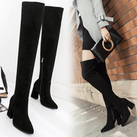 Wholesale Ladies Korean Boots Heels - Korean Slim Leg Over Knee High Boots Autumn Winter Sexy Ladies Thigh High Boots Fashion Motorcycle Botas Chunky Heels Zip Boots CR46