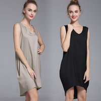 Wholesale Shift Dress Wholesale - Fashion V Neck High Low Hem Loose Asymmetric Shift Women's Tank Mini Dress G2462X