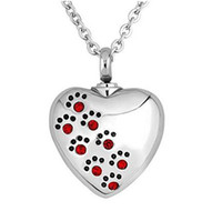 Crystal Paw Print Heart Collier en acier inoxydable Keepsake Crametion Colliers pour femme Urn Memory Jewelry Holder