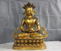 """Wholesale Kwan Yin Statues - 27"""" Chinese copper Bronze Kwan-yin Boddhisattva Amitayus longevity Buddha Statue"""