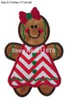 "Wholesale Gingerbread Man Wholesale - 6.7"" Chritsmas Santa Gingerbread Man Boy Girl LARGE APPLIQUE CARTOON TV MOVIE Iron On Patch dress TRANSFER MOTIF Felt Badge"