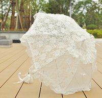 Wholesale Children Lace Parasols - Lace Umbrella Creative hollow wedding umbrella Bridal Flower Girls Decoration Parasol Manual Control Wedding Photo Props