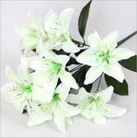 perfume de seda venda por atacado-Simulação lírio 10 perfume lírio de seda flor do casamento flores de decoração para casa orquídeas tigre