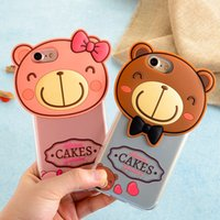 Wholesale Cookie Cover - New 3D Cute Cartoon Bow Bear Phone Cases For iPhone 7 7Plus 6 6s Plus Rainbow Lollipop Cookies Biscuit Back High Quality PC TPU Back Cover