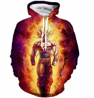 Wholesale Sweatshirt Super - Wholesale-Newest Style Anime Dragon Ball Z Super Saiyan Sweatshirts Cool Goku Hoodies Women Men Long Sleeve Outerwear Hooded Sweatshirt