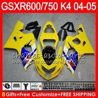 Wholesale gsxr k4 - 8 Gifts 23 Colors Body For SUZUKI GSX-R600 GSXR750 GSXR600 04 05 9HM14 GSX R600 gloss Yellow R750 K4 GSX-R750 GSXR 600 750 2004 2005 Fairing