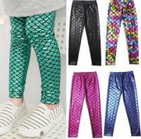 dijital nabız toptan satış-Çocuklar Kızlar Mermaid Sıska Tayt Sıkı Ince Çocuk Pantolon Balık Pulu bebek Renkli Dijital Baskı Tozluk Pantolon 12 renk KKA1970