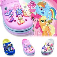 Wholesale Horse Ornaments - 9Pcs lot My Little Horse PVC Cartoon Shoe Charms Ornaments Buckles Fit for Shoes & Bracelets ,Charm Decoration,Shoe Accessories Party Gift