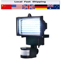 sensores de movimiento de 12v al por mayor-Al por mayor- 60 LEDS Solar LED Floodlight Outdoor Cool PID blanco Sensor de movimiento LED Lámpara de luz de inundación para pared de camino de jardín Iluminación de emergencia