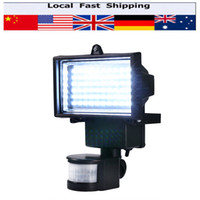 Grossiste - 60 LEDS solaire LED Floodlight Outdoor Cool PIR blanc capteur de mouvement LED Flood Light lampe pour jardin Wall mur d'éclairage d'urgence