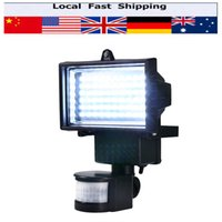 Wholesale Outdoor Led Motion Flood Lights - Wholesale- 60 LEDS Solar LED Floodlight Outdoor Cool White PIR Motion Sensor LED Flood Light Lamp For Garden Path Wall Emergency Lighting