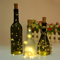 Wholesale pure copper cups resale online - 2M leds Wine Bottle Cork Copper wire Starry Rope Fairy Glass Craft Bottle Fairy Valentines Wedding Decoration Lamp Party