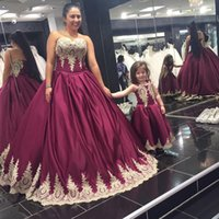 Wholesale Miss Mes - 2017 Dark Red With Gold Appliques Satin Taffeta Long Mother Daughter Dresses A Line Sweetheart Sexy Backless Mini Me Prom Evening Gowns