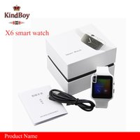 Wholesale Russian Kids - Smartwatch Curved Screen X6 Smart watch bracelet Phone with SIM TF Card Slot with Camera for Samsung android smartwatch