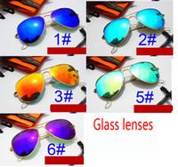 Wholesale sunglasses packs online - 1set summer men Dazzle colour Sunglasses case outdoors Fashion women driving Sunglasses UV400 colors with original packing