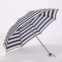 Wholesale Wholesale Navy Stripe Fabric - Fashion Three Folding Umbrella 8 Rib Navy Stripe Umbrella Men Women Rain Windproof Portable Sun Parasol Free Shipping ZA3355
