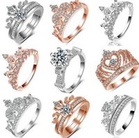Wholesale high quality cubic zirconia stones resale online - Sexy Luxury Jewelry Sterling Silver Rose Gold Plated Hot Sell High quality A Cubic Zirconia Diamond Women Wedding Band Crown Ring Gift