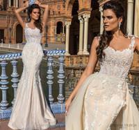 Wholesale Custom Designed Fitted Caps - datchable overskit mermaid wedding dresses 2017 crystal design bridal sheer jewel neckline fit and flare sheer back