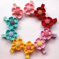 Wholesale Cute Baby Girl Chinese - 2017New Baby Hair Clips Five petal flower Hairpins 10sets lot Polyester Flower Hairpins Chinese style Girls Barrettes Cute kids Candy color