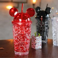 Wholesale Drinking Bottles Straw - Factory Wholesale Creative Cartoon Water Bottle With Straw 450ML Cute Mickey Plastic Glass Cup Free Shipping