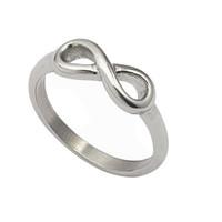anel de gravata de prata venda por atacado-Símbolo do infinito figura 8 Palavras do Dia Dos Namorados Casamento Moda de aço de prata Exquisite Nobre Bonito Bow tie Anel Para Mulheres / meninas